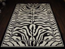 Modern Approx 8x5 160x230cm Woven Backed Zebra Print Black/Off White Quality rug
